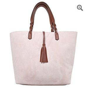 Handbags - NWT pink faux suede tote